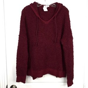 MIRACLE Maroon Popcorn Pullover Sweater Hoodie NEW